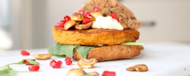 Gresskarburger uten egg, gluten og melk - dekker dagens 1 av 5 anbefalte